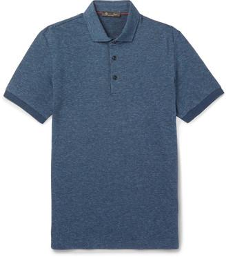 Loro Piana Puppytooth Virgin Wool And Cotton-Blend Polo Shirt
