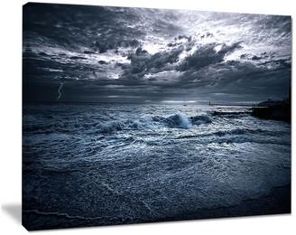 "Design Art Usa ""Sochi Sea Storm in Blue"" Modern Landscape Wall Art Canvas, 20""x12"""