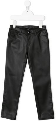Emporio Armani Kids Casual Leather Like Trousers