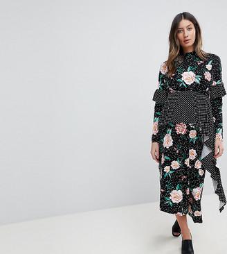 Asos Mixed Print Deconstructed Midi Tea Dress-Multi