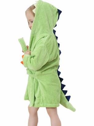 Alltops Little Boys Girls Cotton Towel Bathrobe Cartoon Dinosaur Hooded Bathing Robe 1-6Y Green