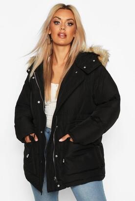 boohoo Plus Faux Fur Hooded Drawstring Puffer Parka Coat