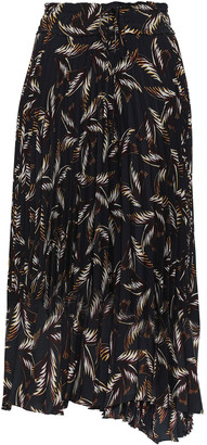 A.L.C. Pleated Printed Crepe De Chine Midi Skirt