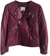 Anine Bing Burgundy Leather Leather Jacket for Women