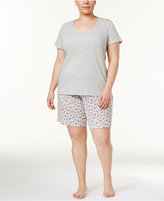 Charter Club Plus Size Top and Bermuda Shorts Cotton Knit Pajama Set, Only at Macy's