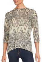 Kensie Geometric-Print Space Dye Sweater
