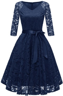 SOLERSUN Women's Vintage Dress V Neck Lace Evening Party Cocktail Dresses with Belt (Gray X-Large)