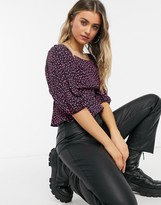 Thumbnail for your product : New Look square neck textured top in black pattern