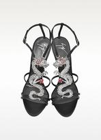 Giuseppe Zanotti Dragon Strass Black Silk High Heel Sandal