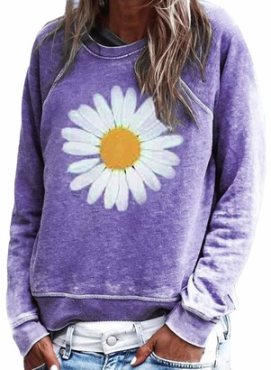 Happy Sailed Womens Casual Floral Print Cotton Long Sleeve Round Neck T Shirts Jumpers Blouses Sweatshirts Tops Purple Size 16