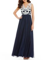 Aidan Mattox V-Neck Lace Bodice Ball Gown