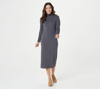 Women With Control Attitudes by Renee Petite Mock Neck Finespun Sheath Midi Dress