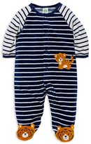 Little Me Infant Boys' Tiger Stripe Velour Footie - Sizes 3-9 Months