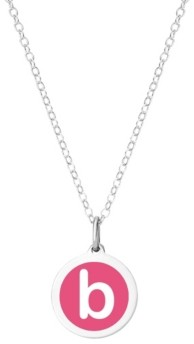 """Auburn Jewelry Mini Initial Pendant Necklace in Sterling Silver and Hot Pink Enamel, 16"""" + 2"""" Extender"""