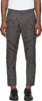 Christopher Kane Black & White Deconstructed Pinstripe Turn Up Trousers