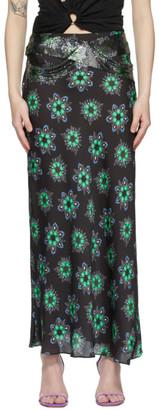 Paco Rabanne Black Geometric Floral Midi Skirt