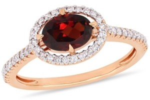 Macy's Garnet (1 ct.t.w.) and Diamond (1/4 ct.t.w.) Halo Ring in 10k Rose Gold