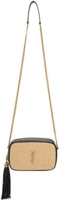 Saint Laurent Beige Raffia Mini Lou Chain Bag