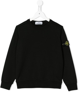 Stone Island Junior logo-patch relaxed-fit sweatshirt