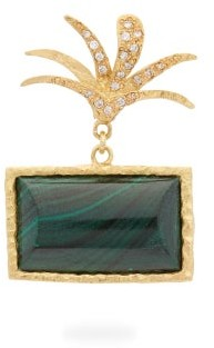 Roxy Orit Elhanati Diamond, Malachite & 18kt Gold Single Earring - Womens - Gold