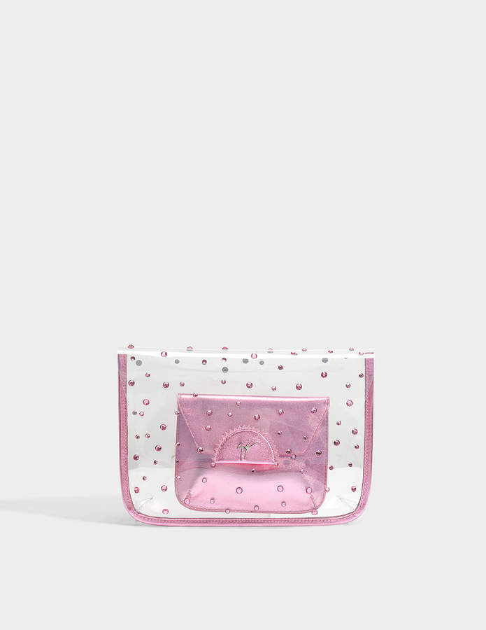 Giuseppe Zanotti Transparent Clutch with Pouch in Pink PVC