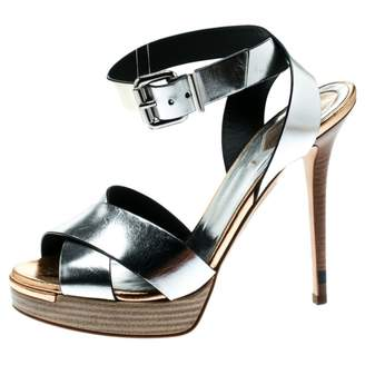 Fendi Silver Leather Sandals