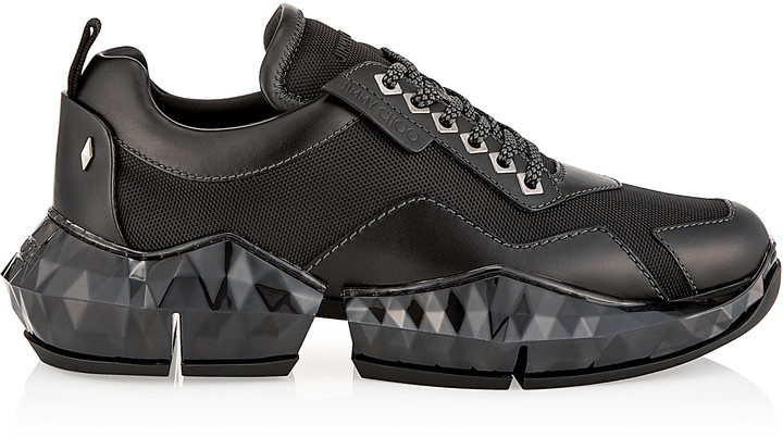 33d357b5445 DIAMOND/M Black Soft Leather and Technical Mesh Trainers with Chunky  Platform