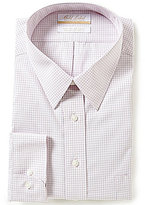 Roundtree & Yorke Gold Label Big & Tall Non-Iron Regular Full-Fit Point-Collar Checked Dress Shirt