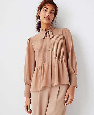 Ann Taylor Pintucked Tie Neck Blouse