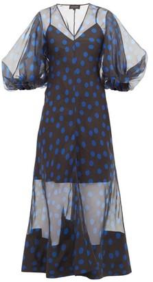 Lee Mathews - Rayne Puff-sleeve Polka-dot Organza Midi Dress - Womens - Black Navy