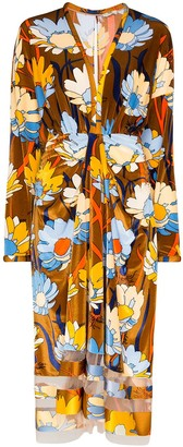 Fendi Floral-Print Chenille Midi Dress