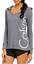 Calvin Klein V-Neck Logo Heathered Knit Hoodie