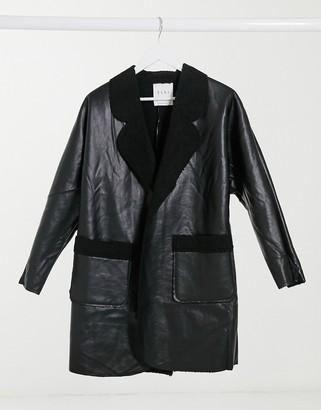 ELVI borg lined faux-fur coat in black