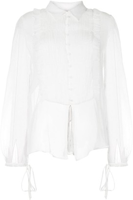 Amiri Pleated-Bib Sheer Silk Short