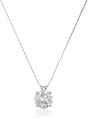 Amazon Collection 14k White Gold 10mm Round Cubic Zirconia Solitaire Pendant Necklace (3.75 carat Diamond Equivalent) 18""
