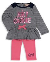 Juicy Couture Baby's Peplum Top & Solid Leggings Set