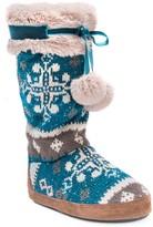 Muk Luks Chanelle Pompom Tie Faux Fur Lined Slipper