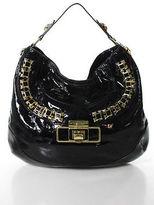 Anya Hindmarch Black Patent Leather Gold Tone Trim Large Hobo Handbag
