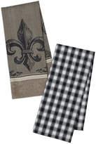 DESIGN IMPORTS Design Imports Fleur De Lis Jacquard & Check Set of 4 Kitchen Towels