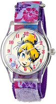 Disney Kids' W001255 Tween Tinker Bell Plastic Watch, Stretch Nylon Strap, Analog Display, Analog Quartz, Purple Watch