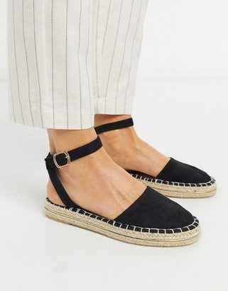 New Look 2 part espadrille flat shoes in black