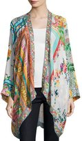 Johnny Was Scarf-Print Georgette Kimono Jacket, Plus Size