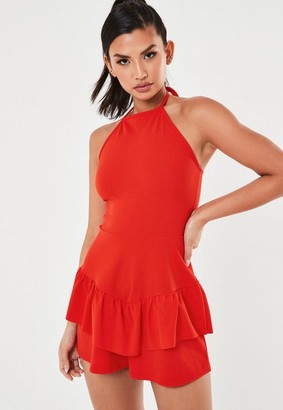 Missguided Red Halter Neck Frill Skort Romper