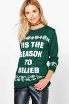 boohoo Maisie Tis The Season To Belieb Christmas Jumper bottle