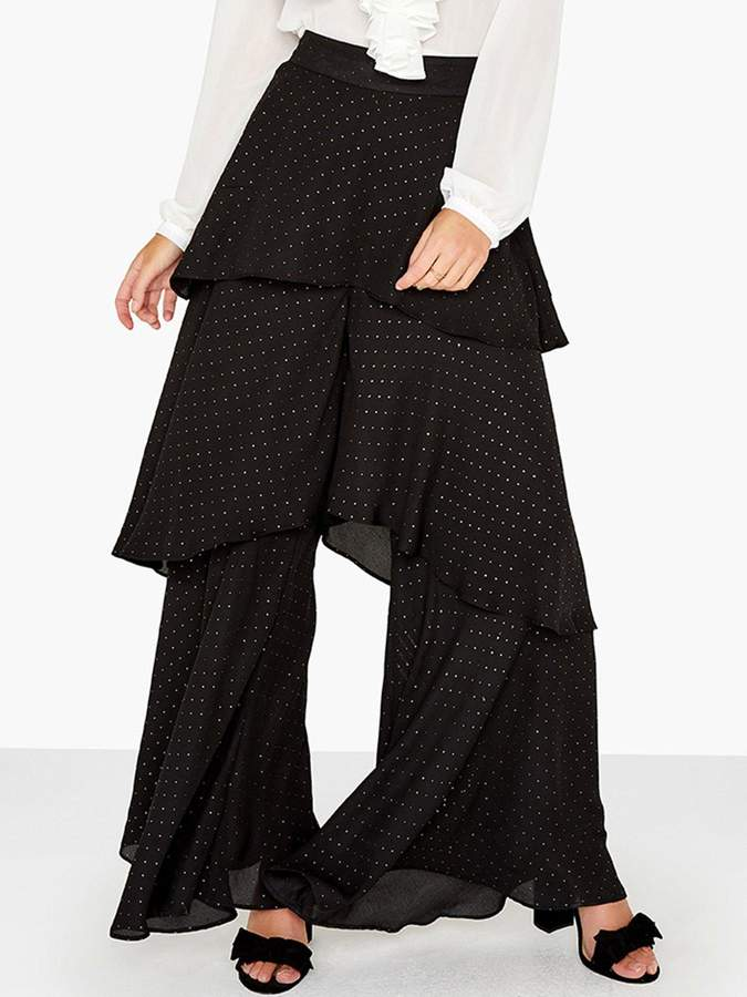 Girls On Film Tiered Ruffle Trousers - Black