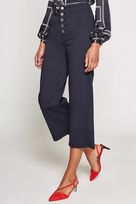 Joie Cassedy High Waist Button Front Crop Pants