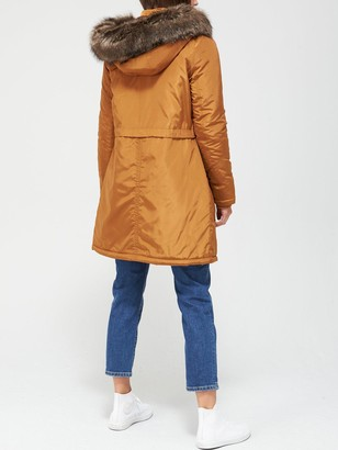 Very Ultimate Parka With Faux Fur Trim - Turmeric