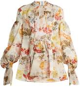 Rosie Assoulin Swash floral-print silk-organza top