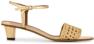 Michel Vivien Metallic Low Heel Sandals