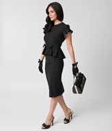 Stop Staring 1940s Style Black Peplum Cap Sleeve Willow Wiggle Dress